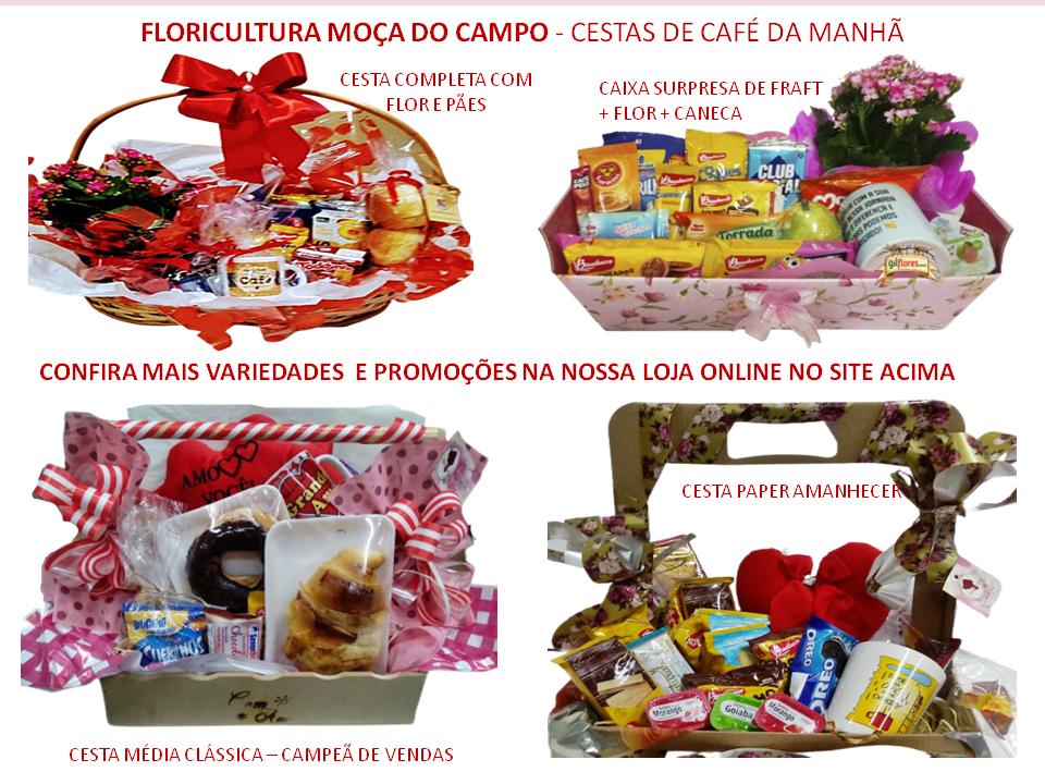 Cesta de Café da Manhã em Santos Variedades Floricultura Moça do Campo