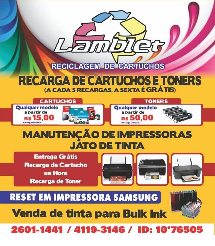 RECARGA DE CARTUCHO EM SAO GONCALO - LAMBLET - RJ