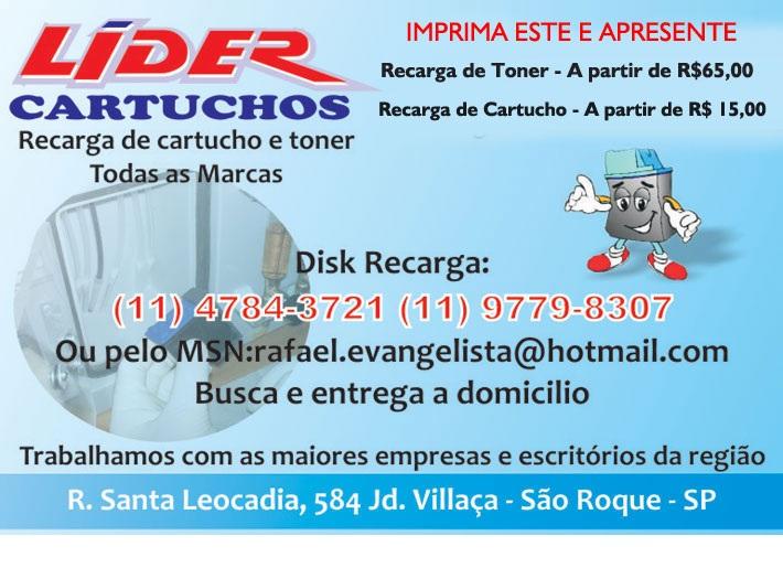 LIDER CARTUCHOS - RECARGA DE CARTUCHO EM SAO ROQUE - SP